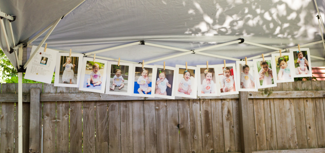 Photos of baby at 1-12 months for a first birthday party